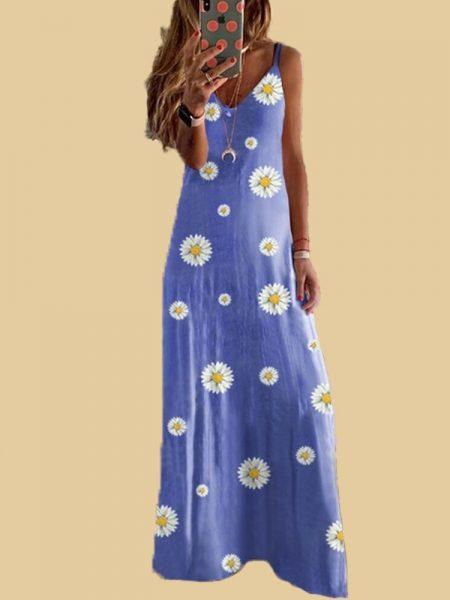 V ყელიანი საზაფხულო ყვავილებიანი გრძელი კაბა