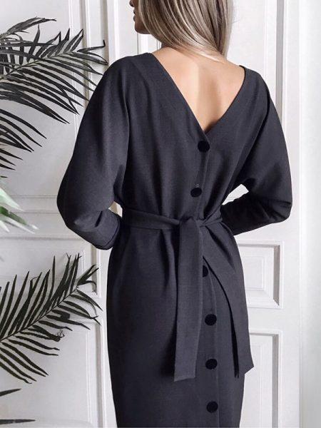 ვინტაჟური შავი უკან ღილებიანი კაბა