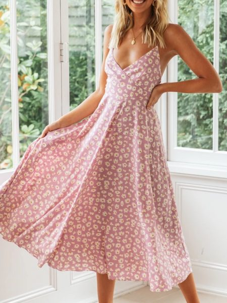 Printed sexy backless condole backless dress bowknot